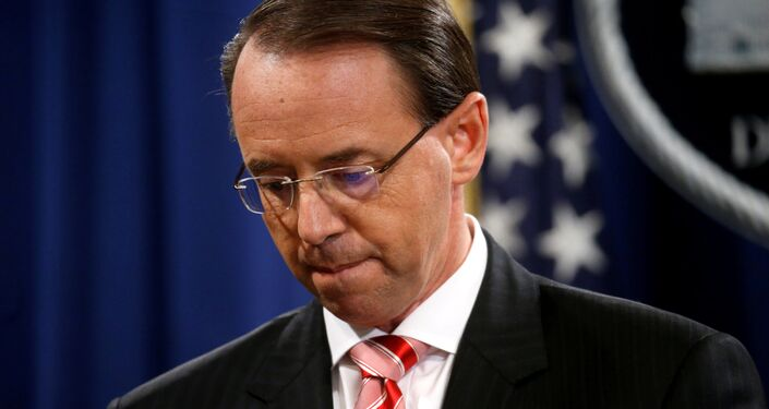 Deputy U.S. Attorney General Rod Rosenstein pauses while announcing grand jury indictments of 12 Russian intelligence officers in special counsel Robert Mueller's Russia investigation, during a news conference at the Justice Department in Washington, U.S., July 13, 2018