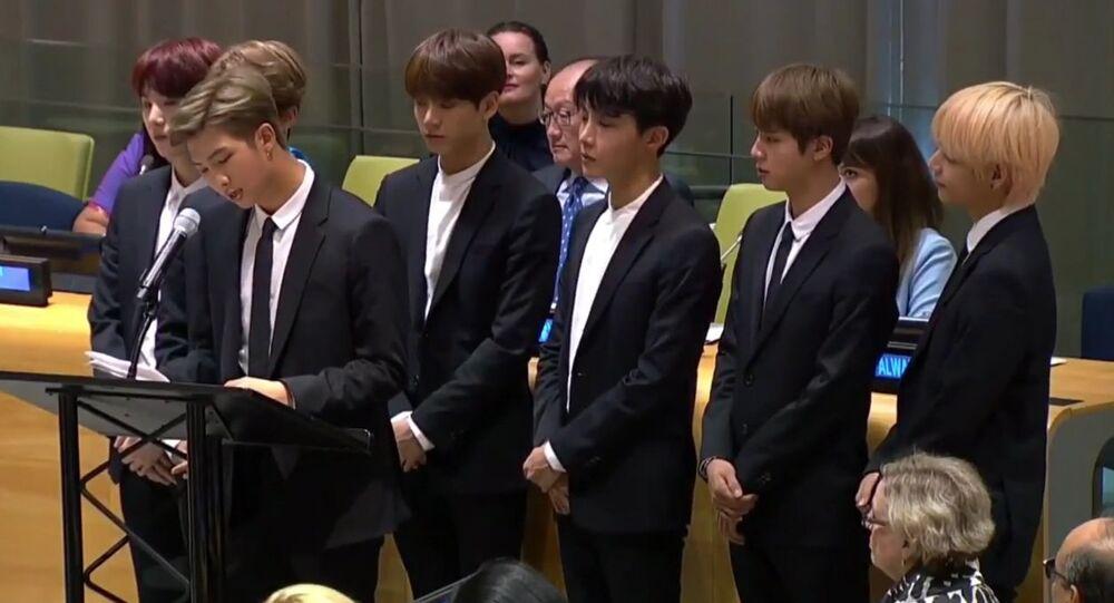 K-Pop boy band BTS addresses UNGA