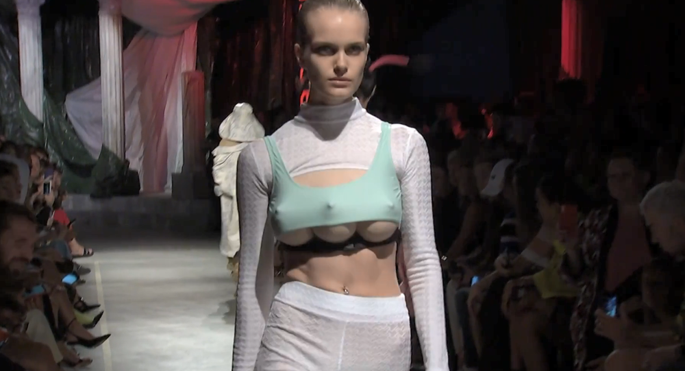 A model with a prosthetic third breast at GCDS Spring/Summer 2019 show in Milan, Italy, September 22, 2018