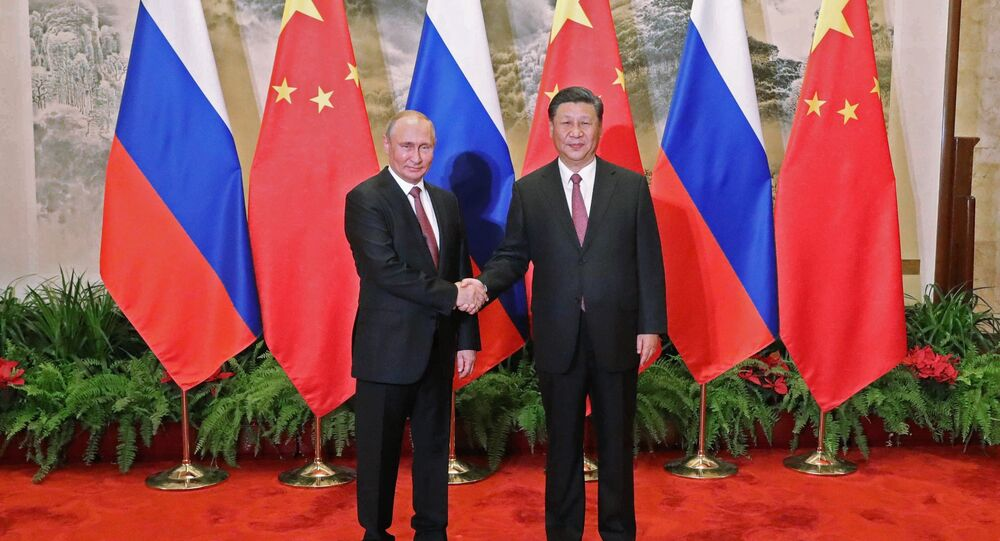Russian President Vladimir Putin and Chinese President Xi Jinping during a meeting in Beijing (File)