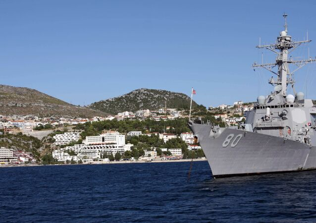 The USS Roosevelt off the coast of the town of Neum in Bosnia-Herzegovina in 2008