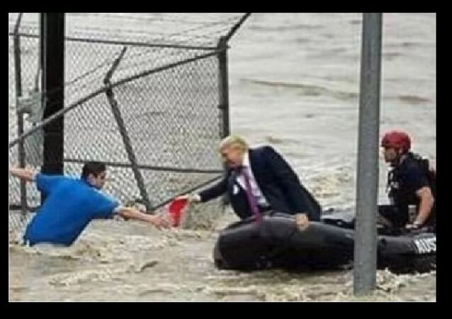 A photoshopped image of US President Donald Trump engaging in rescue efforts, first attributed to flooding from Hurricane Harvey in 2017, then Florence in 2018