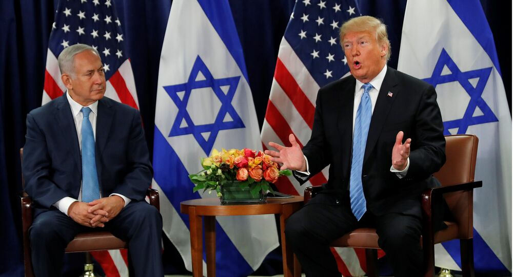 U.S. President Donald Trump speaks during a bilateral meeting with Israeli Prime Minister Benjamin Netanyahu on the sidelines of the 73rd session of the United Nations General Assembly at U.N. headquarters in New York, U.S., September 26, 2018