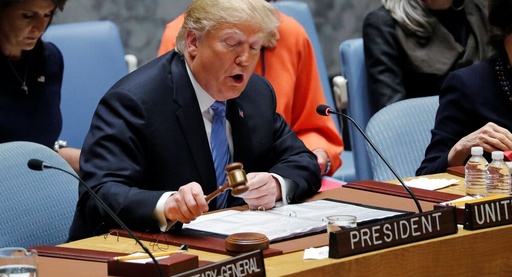 US President Donald Trump, representing the United States as current President of the United Nations Security Council, bangs the gavel to open the U.N. Security Council meeting at the 73rd session of the United Nations General Assembly at U.N. headquarters in New York, U.S., September 26, 2018