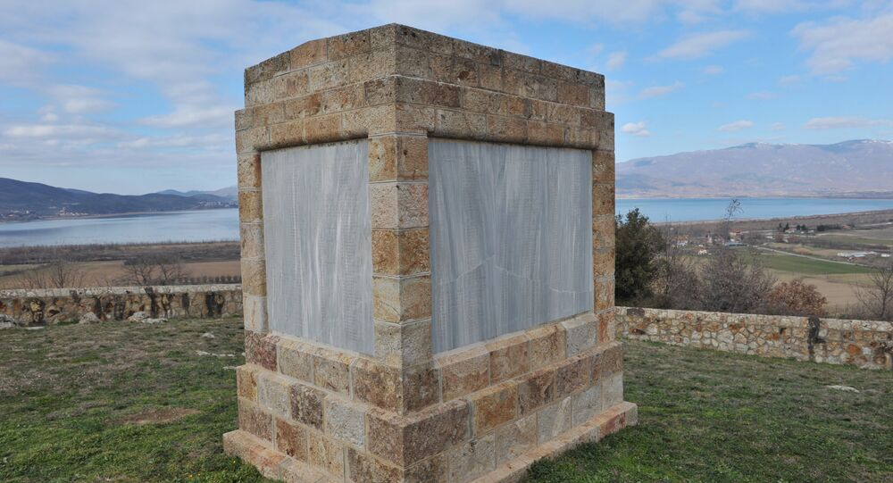 The Memorial at the British Cemetery overlooking Lake Doiran in northern Greece. Dorian is known as the Bulgarian Verdun