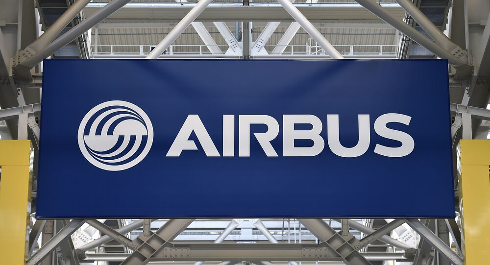 A logo at the Airbus A380 assembly site in Blagnac, southern France, on March 21, 2018