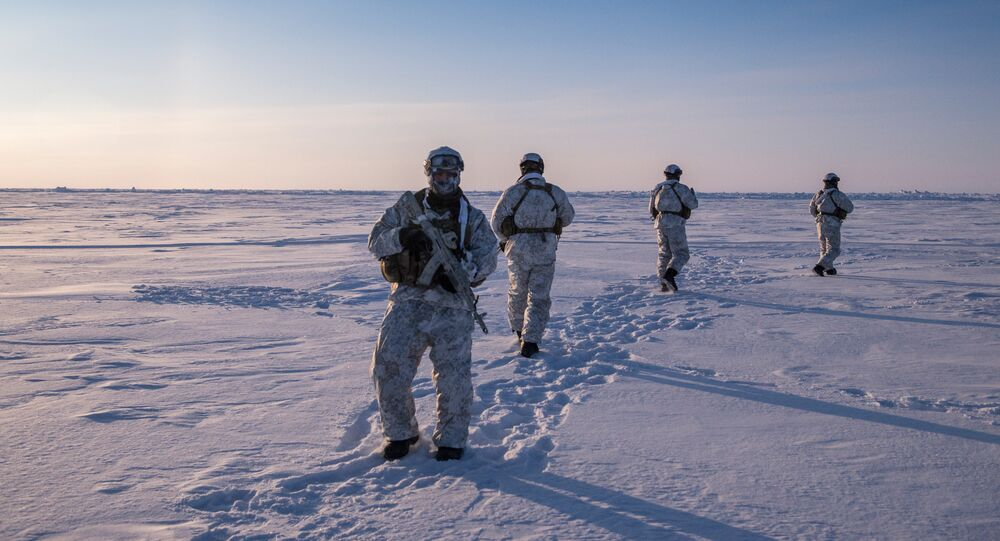 Fighters of a special ops unit of the Chechen Republic's Ministry of the Interior during a drill near the North Pole