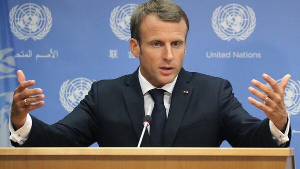 France's President Emmanuel Macron speaks during a press conference he held during the 73rd session of the United Nations at U.N. headquarters in New York, U.S., September 25, 2018 - Sputnik International