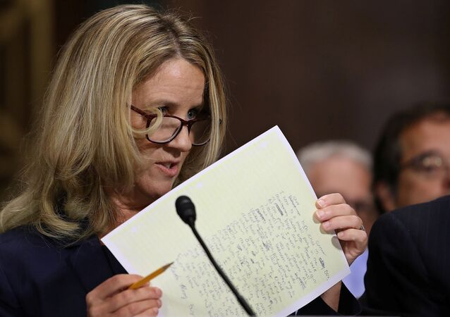 Christine Blasey Ford testifies before the Senate Judiciary Committee in the Dirksen Senate Office Building on Capitol Hill in Washington