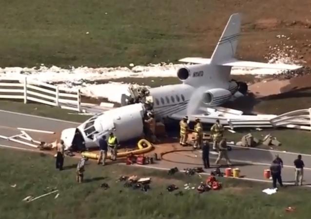 Falcon 50 plane crashes in Greenville, South Carolina.