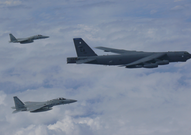 US B-52 bomber flies across East China Sea with two Koku Jieitai (Japan Air Self-Defense Force) F-15 fighters