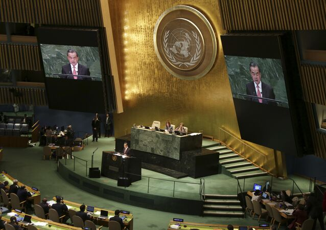 China's Foreign Minister Wang Yi addresses the 73rd session of the United Nations General Assembly, at U.N. headquarters, Friday, Sept. 28, 2018