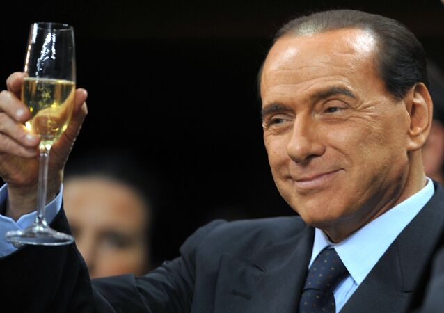 Silvio Berlusconi prima di una partita di calcio Serie A al San Siro Stadium a Milano.