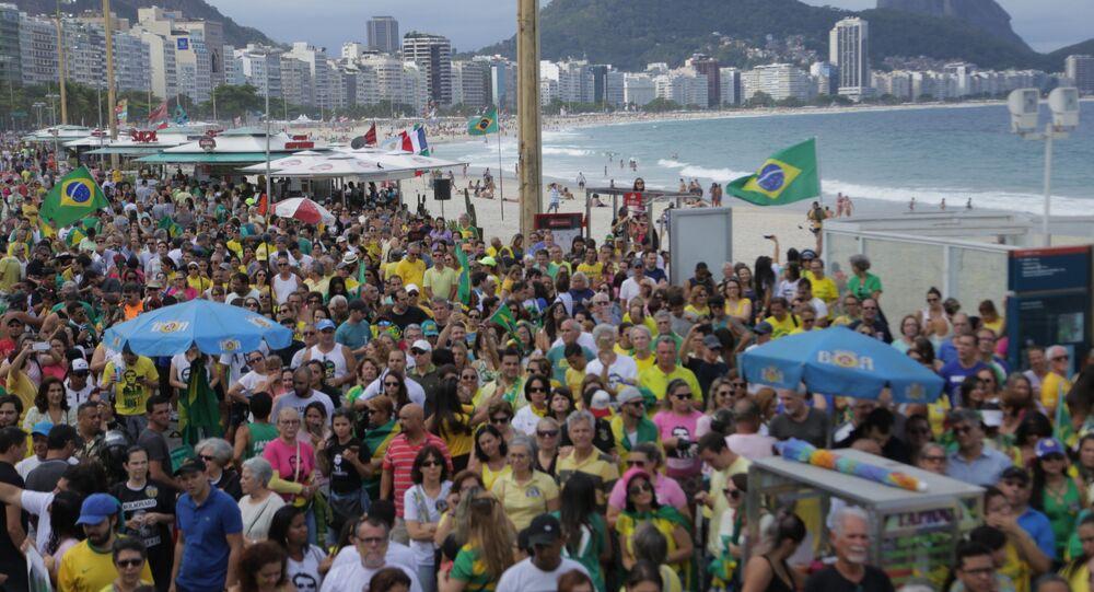 Jair Bolsonaro supporters rally in Rio de Janeiro.