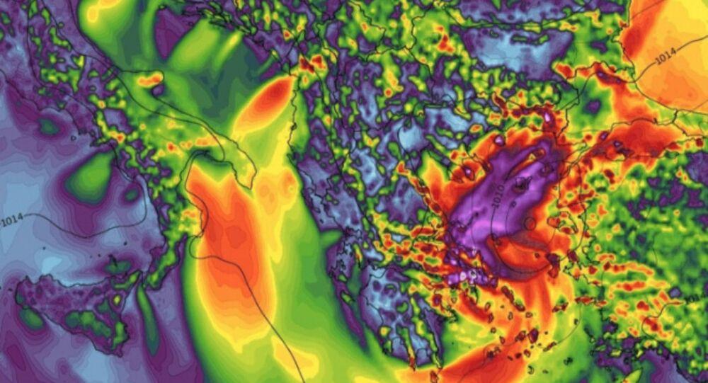 Medicane Zorba precipitation measurements