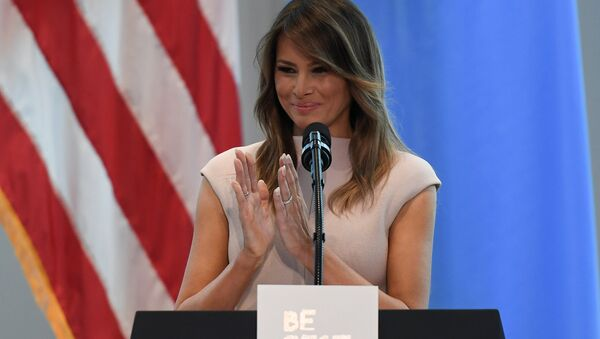 U.S. first lady Melania Trump gives a speech on her initiative Be Best during a reception she is hosting in honor of UNGA attendees at the United States mission to the UN on the sidelines of the United Nations General Assembly in New York City, U.S. September 26, 2018 - Sputnik International
