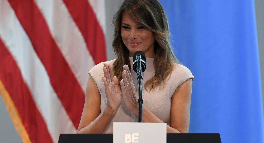 U.S. first lady Melania Trump gives a speech on her initiative Be Best during a reception she is hosting in honor of UNGA attendees at the United States mission to the UN on the sidelines of the United Nations General Assembly in New York City, U.S. September 26, 2018
