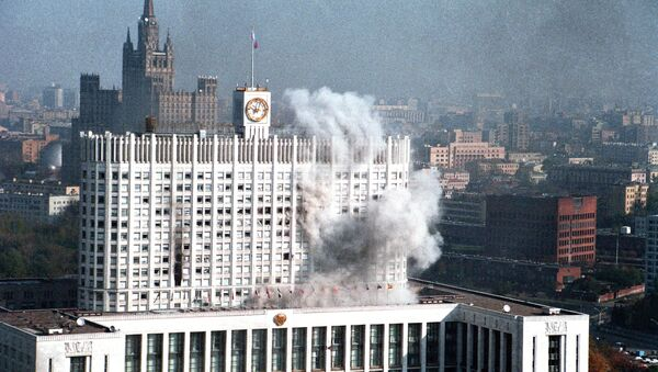October 1993. The government building caught fire as government troops attacked it - Sputnik International