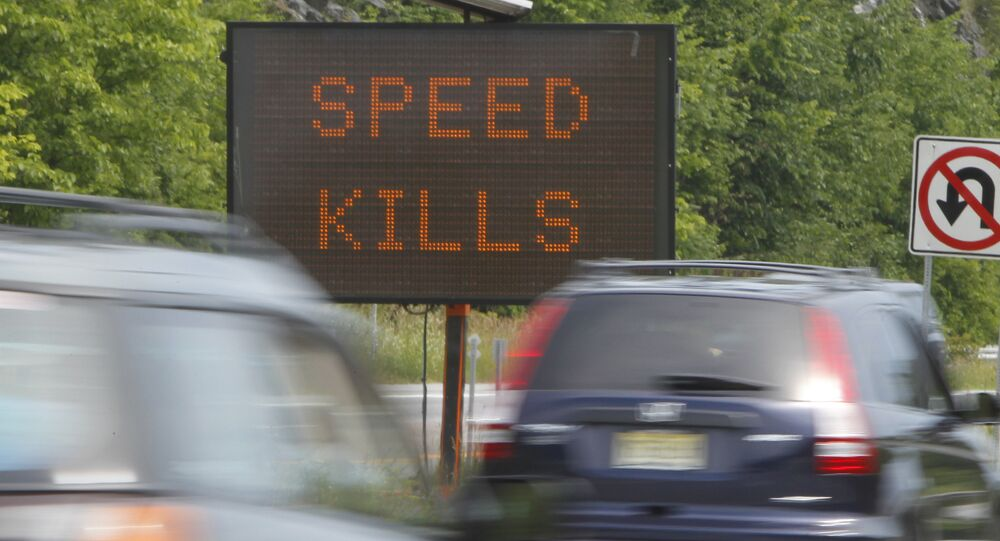 A sign warns motorists on Interstate 89.