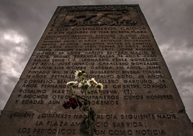 A monument in the Plaza de la Tres Culturas dedicated to the people killed in the student rally on October 2, 1968.
