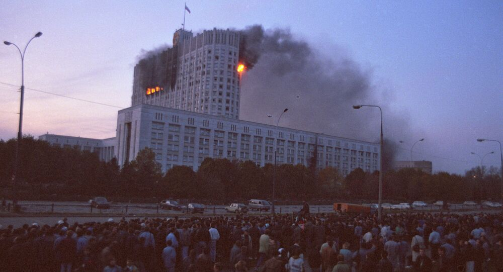 The conflict between two branches of Russian power on September 21-October 4, 1993 led to the forcible cessation of the powers of the Russian Supreme Soviet, and was accompanied by armed clashes in the streets of Moscow