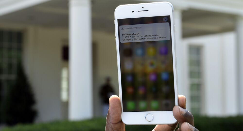 The first test of the national wireless emergency system by the Federal Emergency Management Agency on a cellphone at the White House.