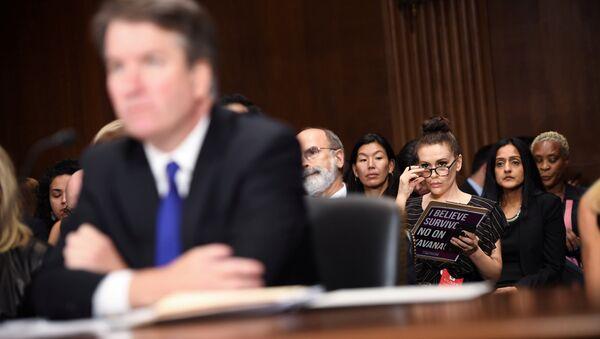 Actress Alyssa Milano listens to Supreme Court nominee Brett Kavanaugh as he testifies before the Senate Judiciary Committee on Capitol Hill in Washington, DC, U.S., September 27, 2018 - Sputnik International