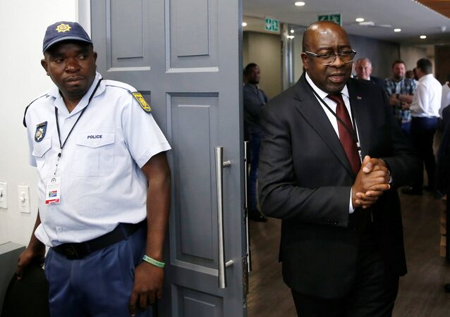 South African Finance Minister Nhlanhla Nene arrives to give evidence at the State Capture Inquiry