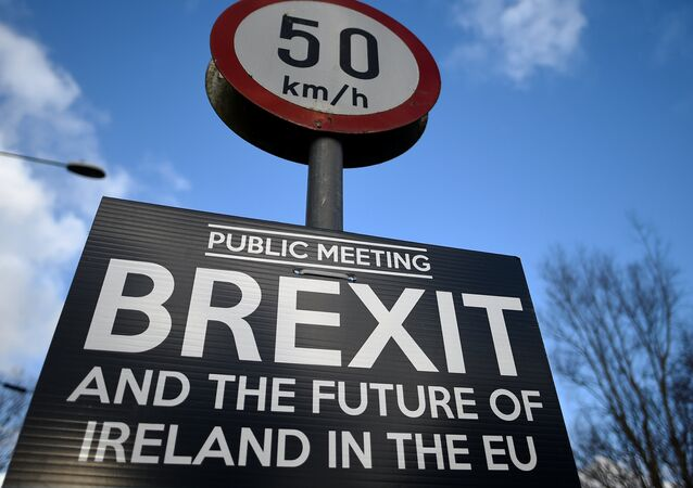 A Brexit sign is seen between Donegal in the Republic of Ireland and Londonderry in Northern Ireland at the border village of Muff, Ireland, February 1, 2018. Picture taken February 1, 2018.