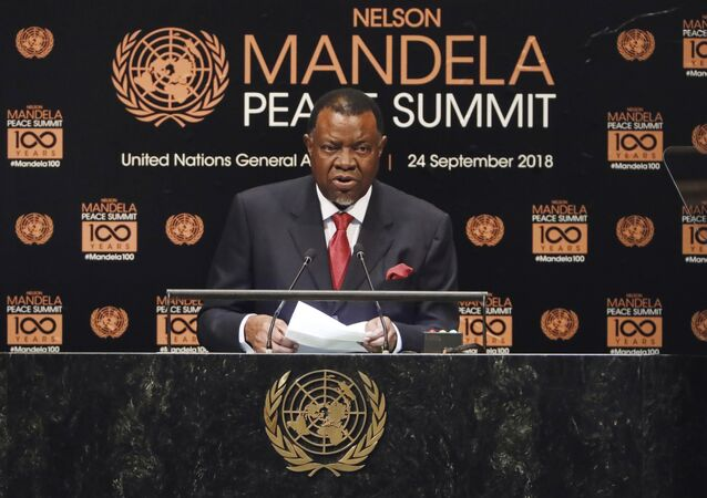 Namibia's President Hage Geingob addresses the Nelson Mandela Peace Summit in the United Nations General Assembly, at U.N. headquarters, Monday, Sept. 24, 2018.