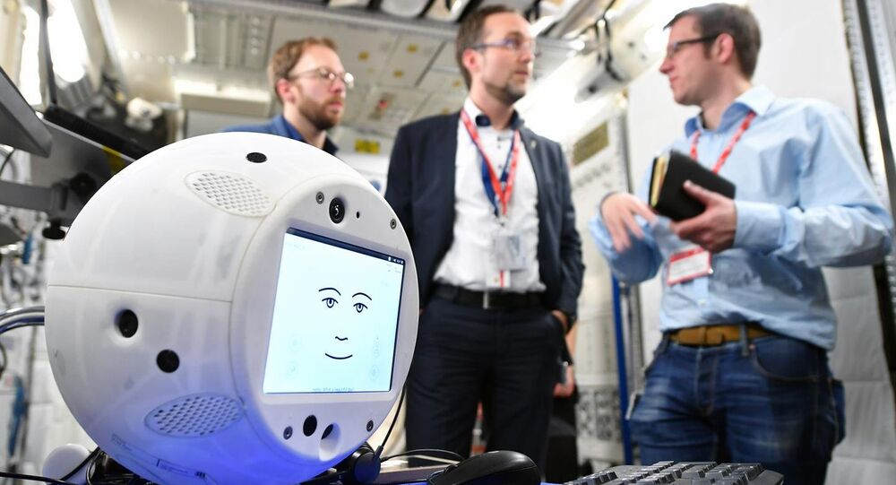 A close-up of CIMON, the Crew Interactive Mobile Companion, an A.I.-equipped robot that is the first of its kind to fly in space.