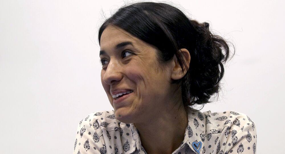 In this Monday, May 22, 2017 file photo, Human rights activist Nadia Murad speaks during an interview with The Associated Press at the International Center in Vienna, Austria.