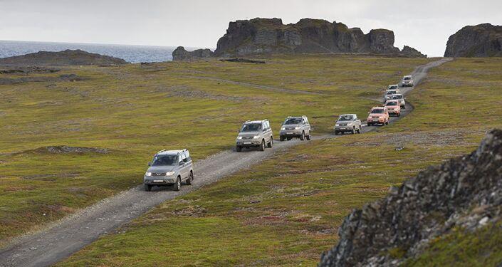 UAZ Patriots taking an extreme test drive through Russia's Kola Peninsula.