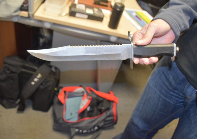 A knife seized by UK police during Operation Ballymore. Thirty five people have been arrested following a series of linked arrest warrants, as part of a long-running operation targeting suspects involved in drug-dealing and violence in Hackney borough.