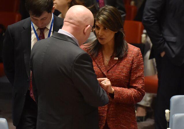 US ambassador to the United Nations, Nikki Haley talks with the Russian Ambassador to the United Nations Vassily Nebenzia