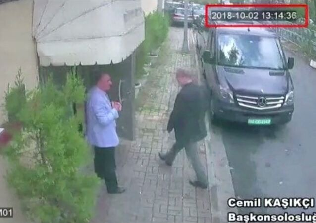 A still image taken from CCTV video and obtained by TRT World claims to show Saudi journalist Jamal Khashoggi as he arrives at Saudi Arabia's consulate in Istanbul, Turkey Oct. 2, 2018.
