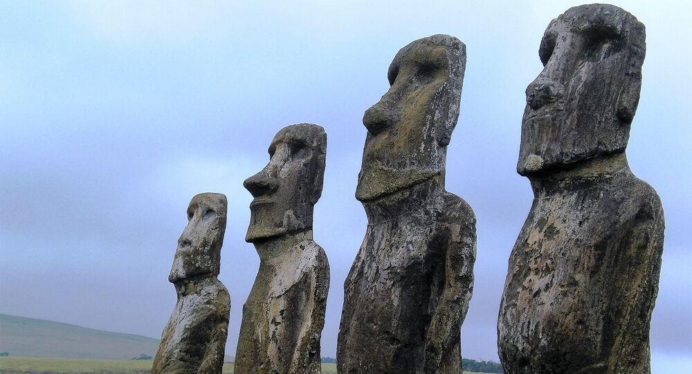 Moai statues on the Easter Island