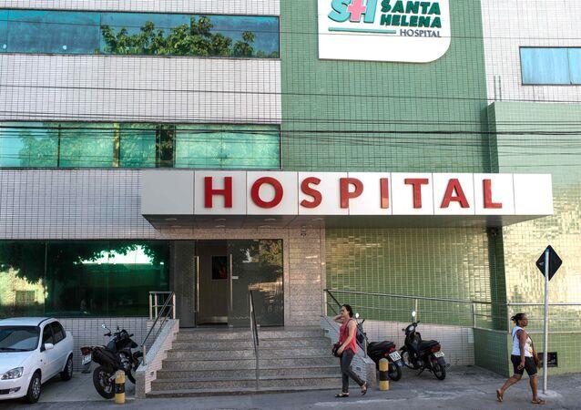 The facade of the Santa Helena hospital in Camaçari, Bahia, Brazil