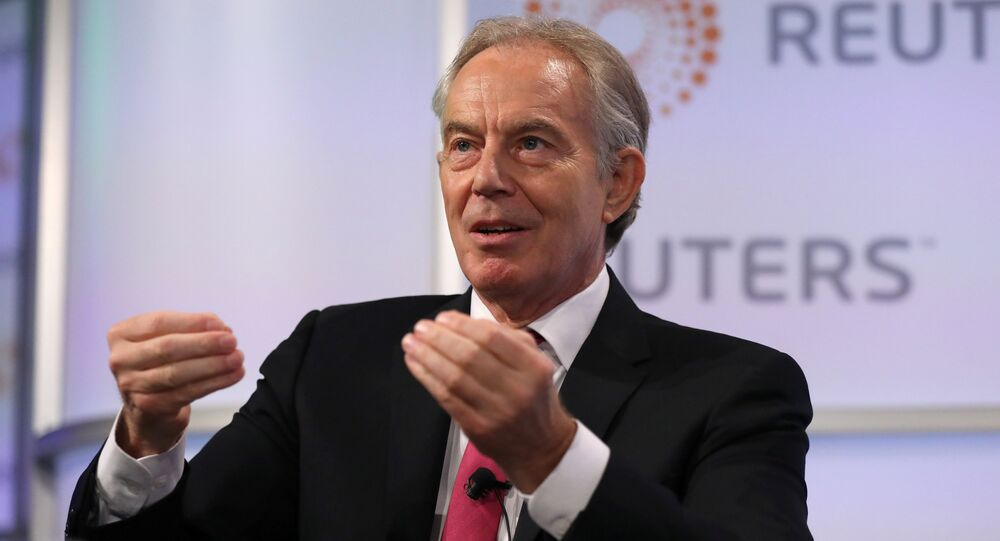 Britain's former Prime Minister Tony Blair attends an event at Thomson Reuters in London, Britain, October 11, 2018.