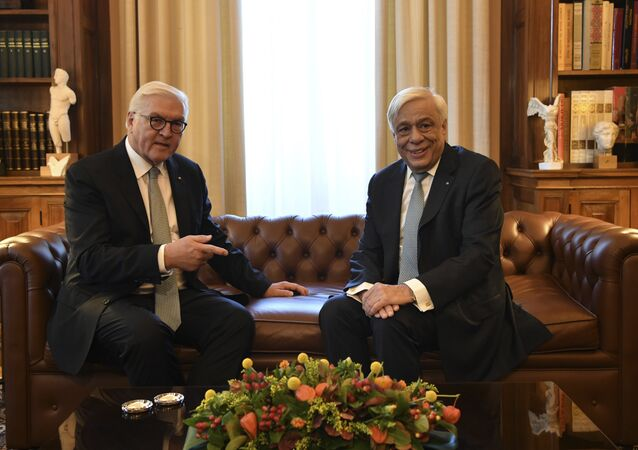 Greek President Prokopis Pavlopoulos and German President Frank-Walter Steinmeier