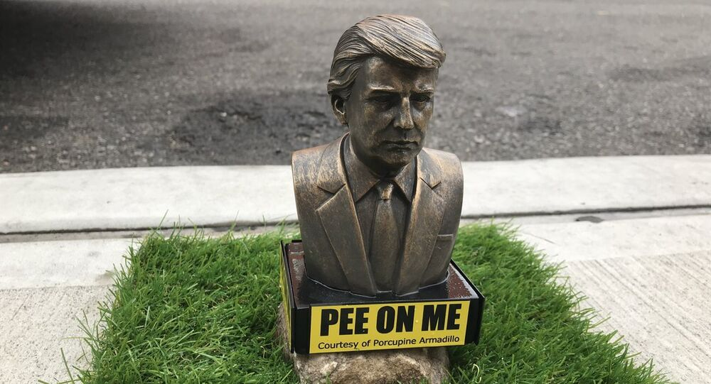 Pee on Me statues of US President Donald Trump for dogs and people placed by artist Phil Gable around New York City's Brooklyn
