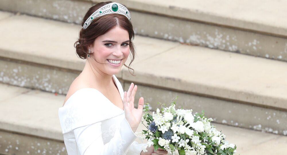 Princess Eugenie of York and Jack Brooksbank after their wedding ceremony at St George's Chapel, Windsor Castle, near London, England, Friday Oct. 12, 2018.