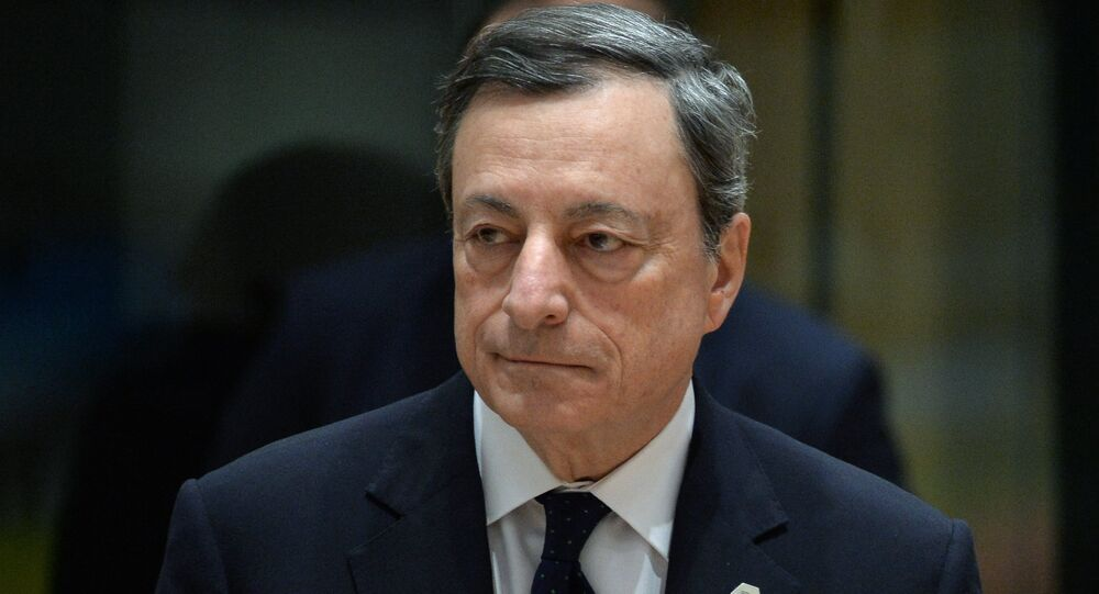 European Central Bank President Mario Draghi is pictured during a EU summit in Brussels