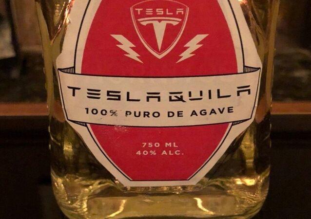 mockup label for Elon Musk branded 'Teslaquila' tequila