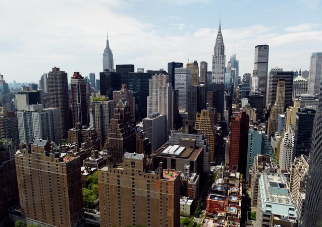 View of Manhattan May 12, 2014 from the United Nations headquarters building in New York