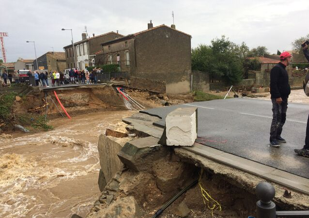 Heavy rains hitting the southern French department of Aude