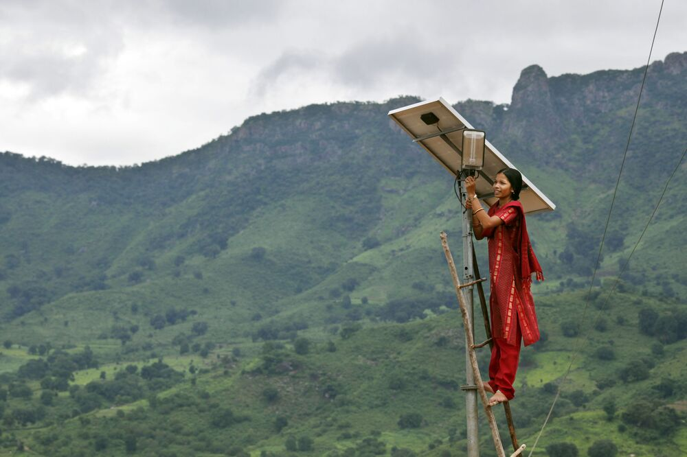 Engineer at Work in Solar Powered Village in India