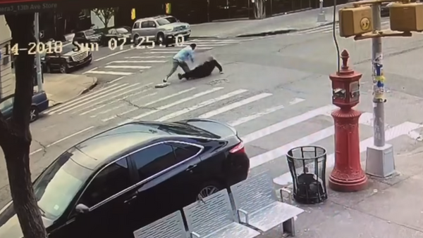 New York City taxi driver caught on surveillance footage chasing after Jewish man before repeatedly punching him in the head. - Sputnik International