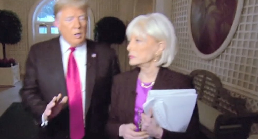 CBS Correspondent Lesley Stahl and US President Donald Trump during an interview for 60 Minutes, October 14, 2018