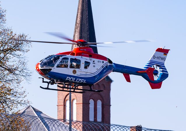 A helicopter carrying onboard Moroccan terror accomplice Mounir el Motassadeq takes off from the Fuhlsbuettel prison in Hamburg, northwestern Germany, on October 15, 2018.